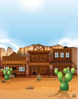 Wüstenszene mit gebäuden im westlichen stil