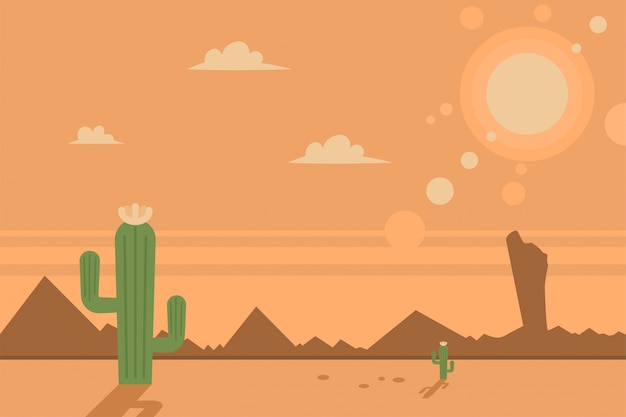 Wüstenszene mit kakteen und sonne. flache landschaft der vektorkarikatur.