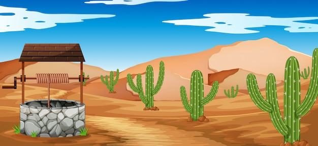 Wüstenszene mit kaktus und brunnen