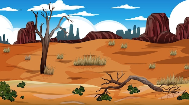 Wüstenwaldlandschaft am tag szene