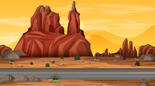 Wüstenwaldlandschaft bei nachtszene mit langer straße