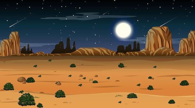 Wüstenwaldlandschaft bei nachtszene