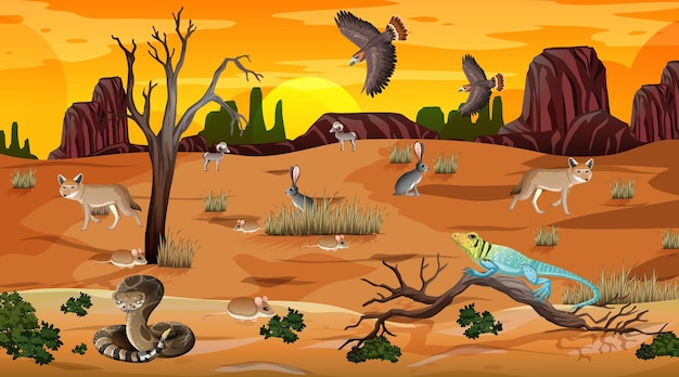 Wüstenwaldlandschaft bei sonnenuntergang mit wilden tieren Kostenlosen Vektoren