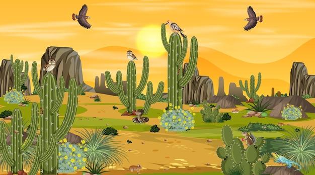 Wüstenwaldlandschaft bei sonnenuntergang mit wüstentieren und pflanzen