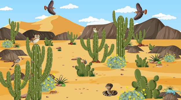 Wüstenwaldlandschaft tagsüber mit wüstentieren und pflanzen