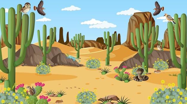 Wüstenwaldlandschaft tagsüber szene mit wüstentieren und pflanzen