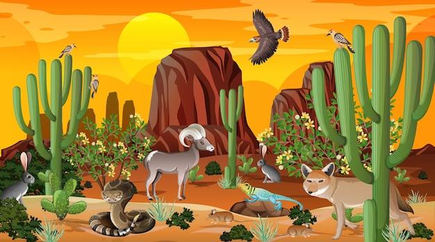 Wüstenwaldlandschaftsszene bei sonnenuntergang mit wilden tieren