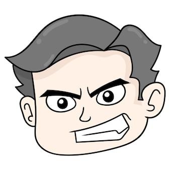 Wütend konfrontiert jungenkopf, vektor-illustration karton emoticon. gekritzelsymbol-zeichnung