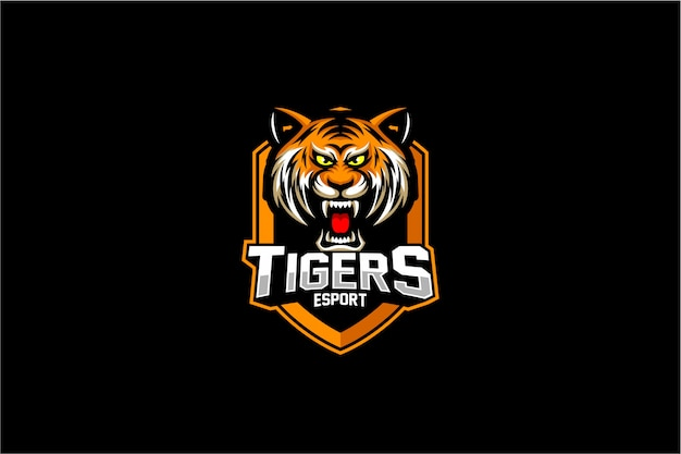 Wütend tiger kopf emblem logo
