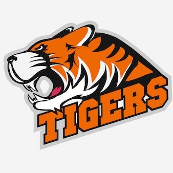 Wütend tiger sport team emblem Premium Vektoren
