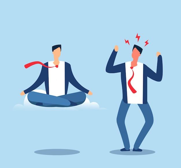 Wütend und ruhig. erwachsener mann erfährt druck und meditiert in der lotussitzung. glückliche und wütende person. vektor-geschäftskonzept