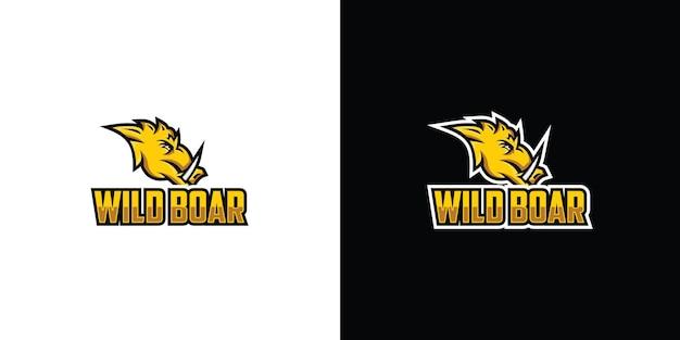 Wütend wildschwein sport logo maskottchen illustration premium-vektor