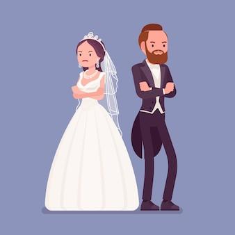 Wütende beleidigte braut und bräutigam auf hochzeitszeremonie