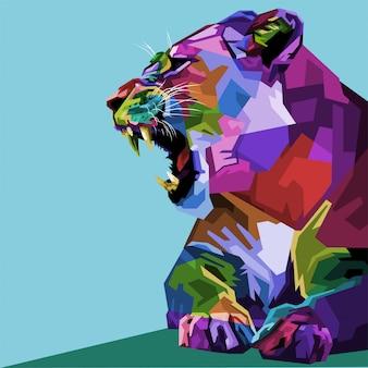 Wütende bunte löwin auf pop-art-stil