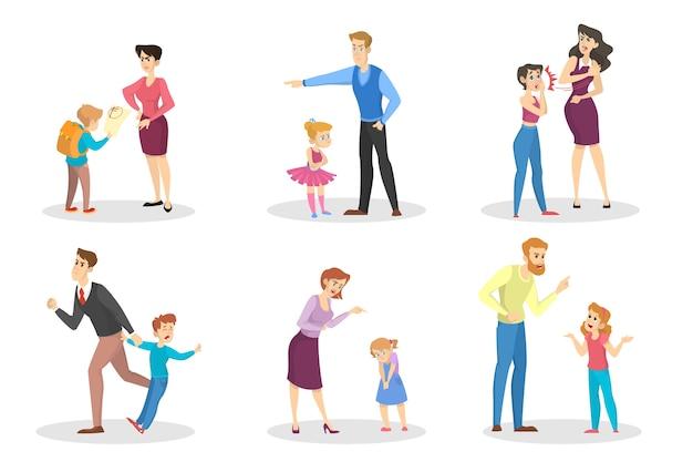 Wütende menschen, die kleine kinder anschreien, setzen ein. konflikt in der familie. wütende mutter und vater im zorn. bestrafung durch die eltern. vektorillustration im karikaturstil