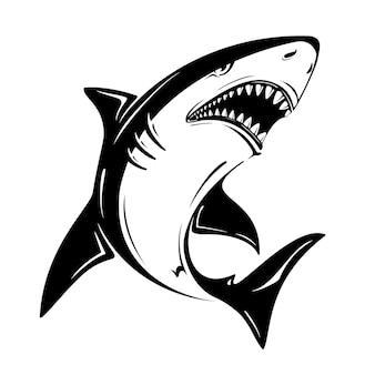 Wütende schwarze hai-vektor-illustration isoliert auf weißem hintergrund. perfekt zum bedrucken von t-shirts, tassen, mützen, logos, maskottchen oder anderen werbedesigns