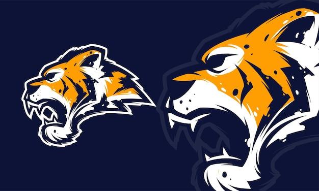Wütende tigerkopf-premium-logo-vektor-maskottchen-illustration
