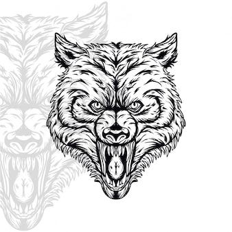 Wütende vektorhauptillustration des wolfs