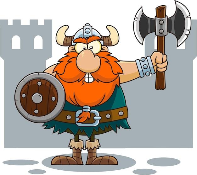 Wütende wikinger-zeichentrickfigur mit schild, der eine axt hält. illustration isoliert auf transparentem hintergrund