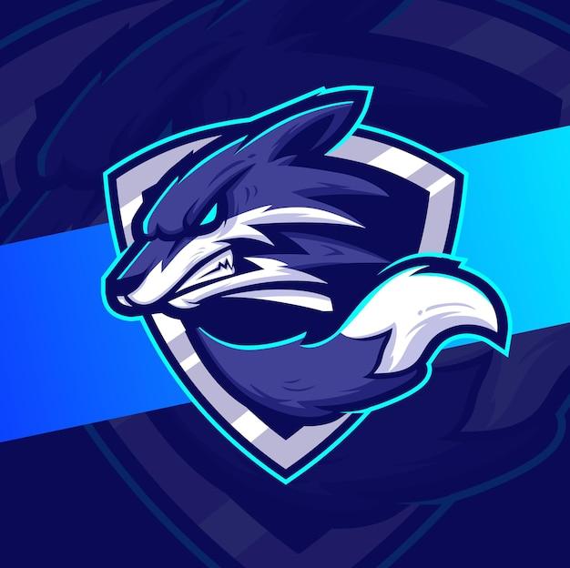 Wütende wölfe maskottchen esport-logo-design-charakter für spiele und sport