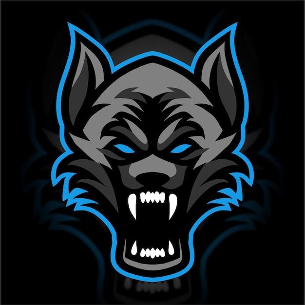 Wütende wölfe maskottchen gaming-logo