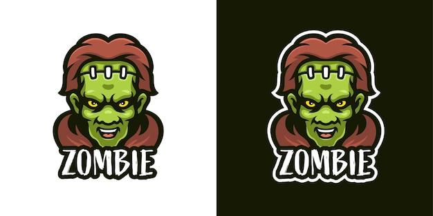 Wütende zombie-maskottchen-charakter-logo-vorlage