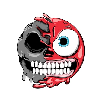 Wütender ausdruck mit großen augen verwandelt sich in ein dunkles schädel-emoticon