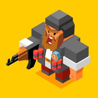 Wütender bewaffneter terrorist