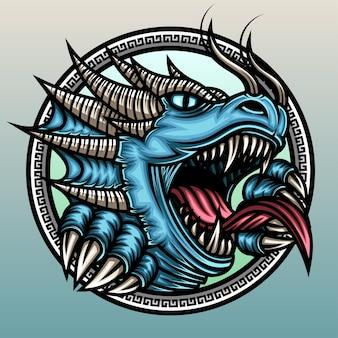 Wütender blauer drache.