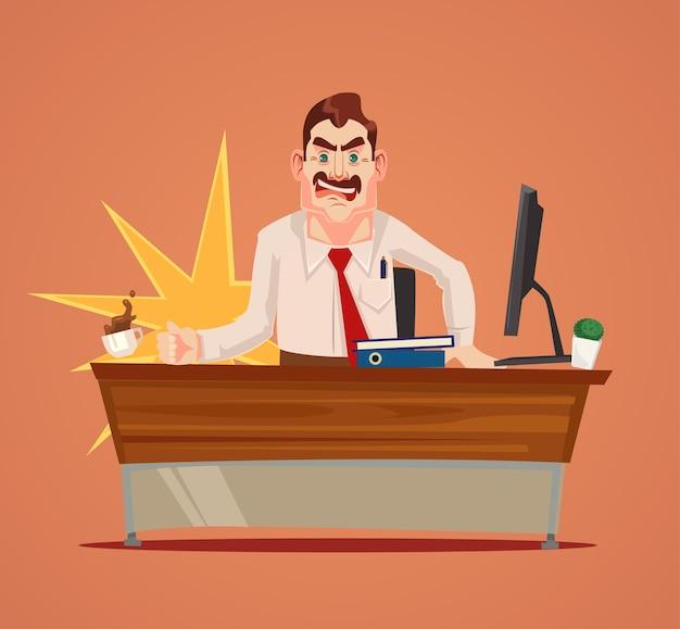 Wütender boss-charakter schreien.