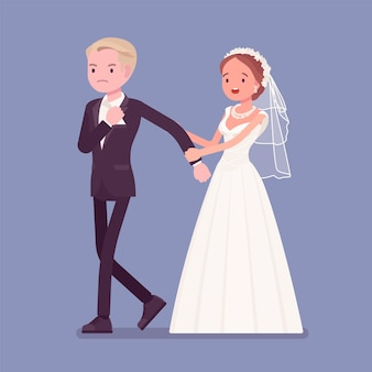 Wütender bräutigam verlässt die braut bei der hochzeitszeremonie