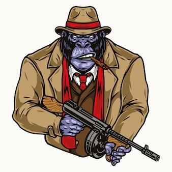 Wütender gorilla-gangster mit thompson-maschinenpistole im stil isoliert