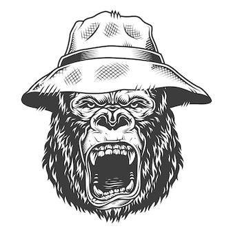 Wütender gorilla im monochromen stil
