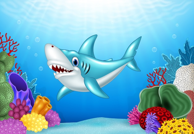 Wütender haifisch der stilisierten karikatur mit schöner unterwasserwelt