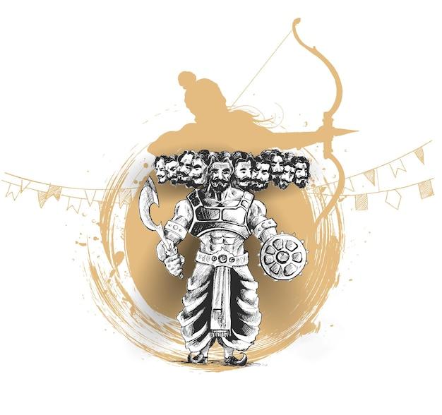 Wütender ravana mit zehn köpfen mit hindi-text dussehra.