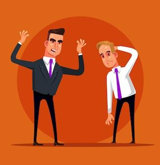 Wütender schreiender schreiender chef schimpft büroangestellter managerangestellter. arbeitsentlassung fehlschlagen.