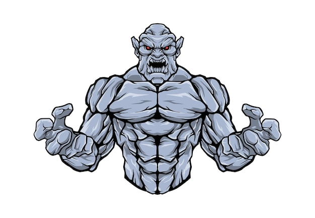 Wütender steingolem-halbkörper-logo-illustration