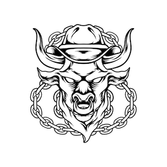 Wütender stier mit kettensilhouette