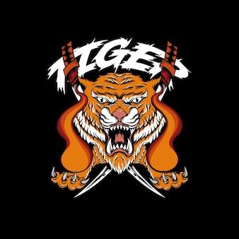 Wütender tiger mit feuer in der hand und schwert