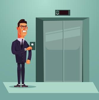 Wütender trauriger nervöser büroangestellter-geschäftsmann, der auf aufzugskarikaturillustration wartet