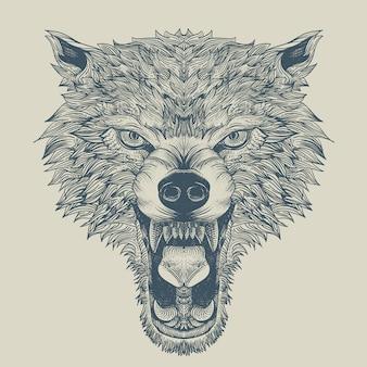 Wütender wolf gravur mit umriss