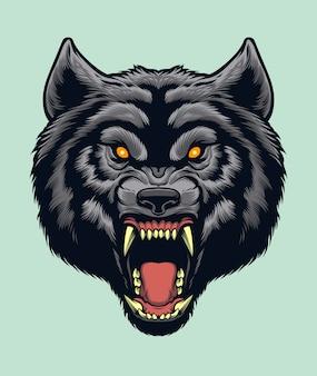 Wütender wolfskopf f