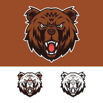 Wütendes bärenkopf-maskottchen-logo