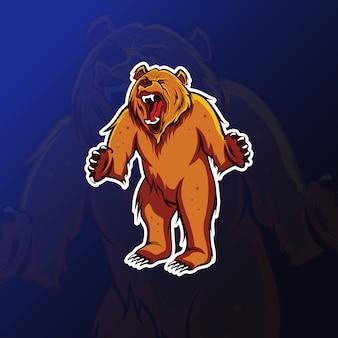 Wütendes bärenmaskottchen für esportspiele