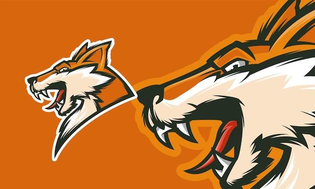 Wütendes fuchs-logo-design gebrauchsfertig premium-vektor-maskottchen-illustration