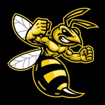 Wütendes hornissenwespenmaskottchen