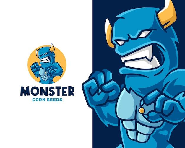 Wütendes monster, das maissamen-logo-vorlage hält