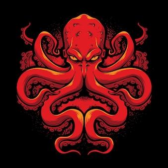 Wütendes rotes tintenfisch-vektorlogo