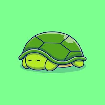 Wütendes süßes kleines schildkrötenvektor-illustrationsdesign, das sich in der schale versteckt