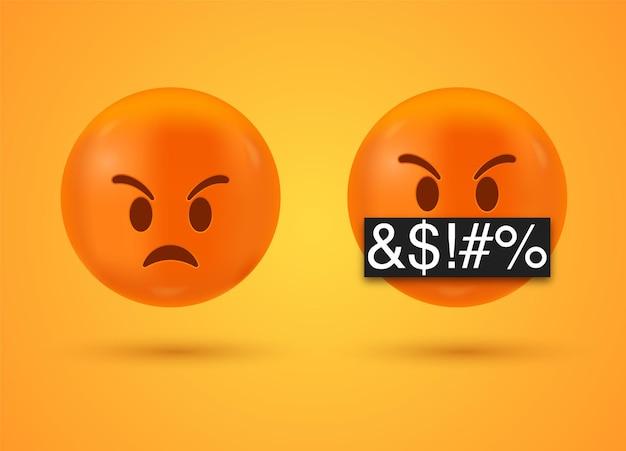 Wütendes und ernstes gesicht emoji mit symbolen, die mund bedecken - 3d emoticon